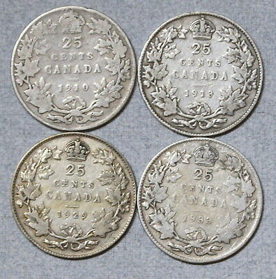 CANADA 25 Cents 1910,1913,1939,1933 - Lot of 4 Silver Coins, NR!