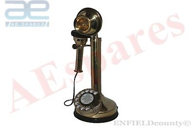 VINTAGE OLD CANDLE STICK BRASS TELEPHONE ANTIQUE EARLY 20th CENTURY @AEs