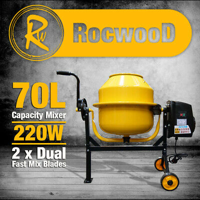 Electric Cement Concrete Mixer RocwooD 63 Litre 220W Drum Mortar Plaster
