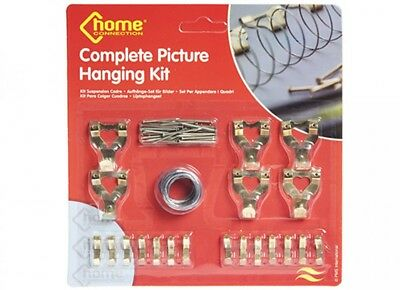 60 Piece Picture Hanging Kit Frame Wall Hooks Wire Nails Tacks Canvas Mirror