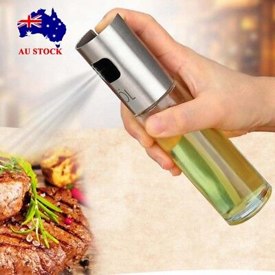 Stainless Steel Oil Olive Pump Spray Glass Pot Bottle Kitchen Cooking Can Tool