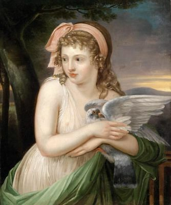 ZWPT539 100% hand-painted moder lovely girl & dove art oil painting on canvas