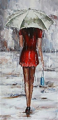 ZWPT296 100% hand-painted moder abstract girl in rain art oil painting canvas