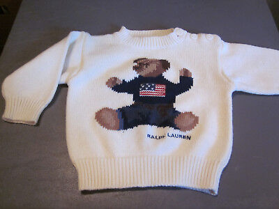 "New Polo Ralph Lauren Baby Infant ""bear"" Pullover Sweater Off White One Size Fit"