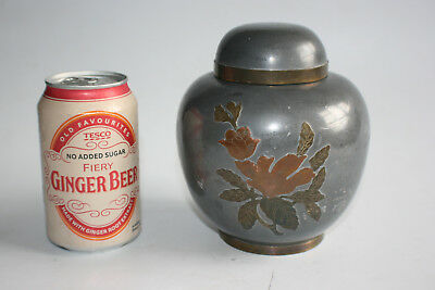 Chinese Pewter with Flower Decorated Jar with Lid