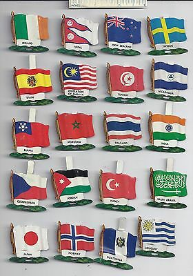 Lot of 20 Diff #2 1959 NABISCO NATIONAL FLAG Tin Tab Pins Shredded Wheat Cereal