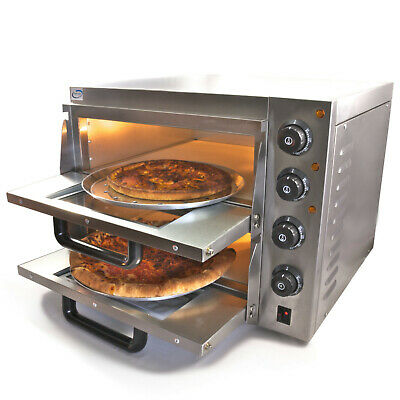Chef-Hub Double Decker Stone Base Electric Commercial Pizza Oven 3Kw Uk Plug