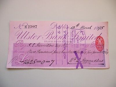 IRELAND (ÉIRE). 1895 CHEQUE for £2425. ULSTER BANK LTD. COLLEGE GREEN BRANCH