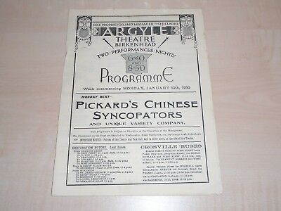 January 1930 Birkenhead Argyle Theatre Programme Variety Bill+With Local Adverts
