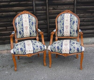 Vintage French Louis Xv Style Carved Oak Pair Of Armchairs - (Con838)