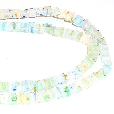 """G861 Clear w Multi-Color Flowers 4mm Square Cube Millefiori Glass Beads 15"""""""