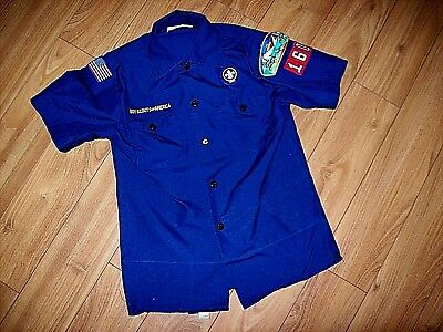 Boy Scouts Of America-Youth S/s Blue Uniform Shirt W/patches-Sz Med-Cub Scout