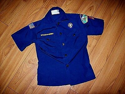 Boy Scouts Of America-Youth S/s Blue Uniform Shirt W/patches-Sz Small-Cub Scout