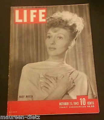 October 25, 1943 LIFE Magazine: Mary Martin, 40s AdD AD ADS FREE SHIPPING Oct 10