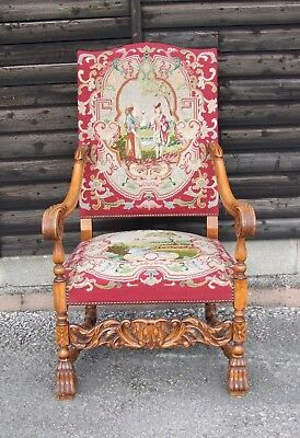 19th CENTURY FRENCH CARVED OAK & NEEDLEPOINT ARMCHAIR - (CON839)