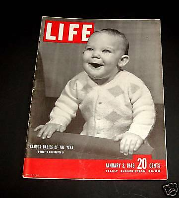 January 3, 1949 LIFE Magazine Famous babies, 40s Advertising FREE SHIPPING Jan 1