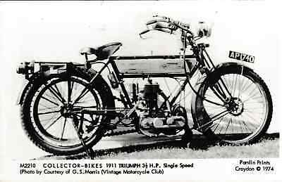 Triumph 3.5 HP single speed motorcycle 1911 - reproduction post card 1974