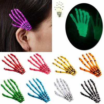Charm Luminous Women Halloween Hair Clips Claw Hairpin Hand Bone Ghost Skeleton