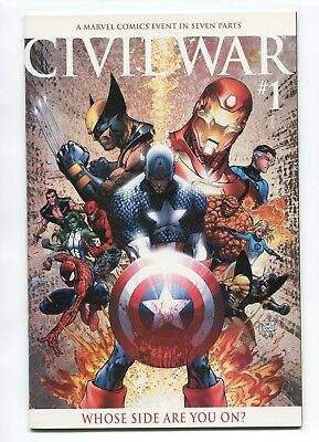 2006 Marvel Civil War #1 Michael Turner Variant Cover Near Mint+ 9.6  D3