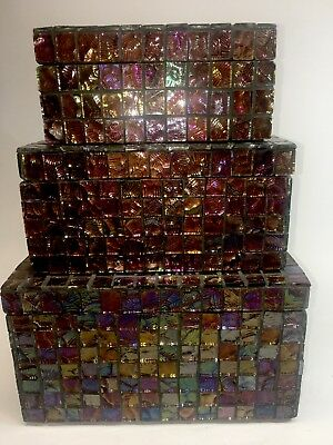 Set Of 3 Inlaid Dichroic Glass Tile Boxes Decor - BEAUTIFUL see ALL Pics