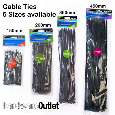 BlueSpot Black CABLE TIES Zip Ties packing Packaging 5 Sizes & Trade Prices