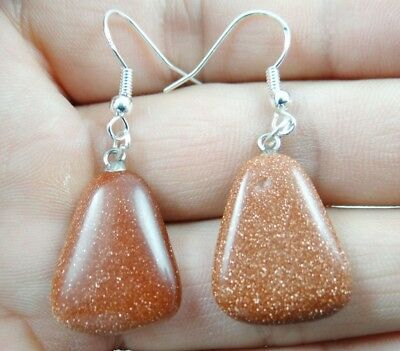 Hand-carved of Gold sand ston Trapezoid pendant Gemstone Earrings Sliver Hook B9