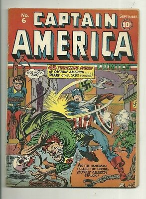 Captain America Comics # 6 Unrestored!! Bondage/Noose cover!! Simon & Kirby!!