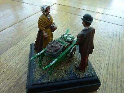 "Vintage Die Vast Diorama Victorian Vegetable Seller & Customer 3.5"" Tall"