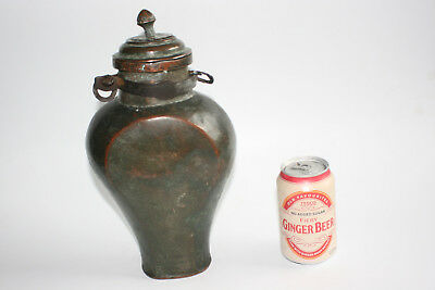 18th/19th or early Antique Hand made Metal Water Wine Hanging Bottle with Lid