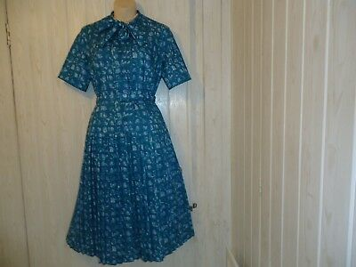 Vintage Lazarus 1930S 1940S 50S Wwii Pleated Pussy Bow Dress & Jacket Size 14