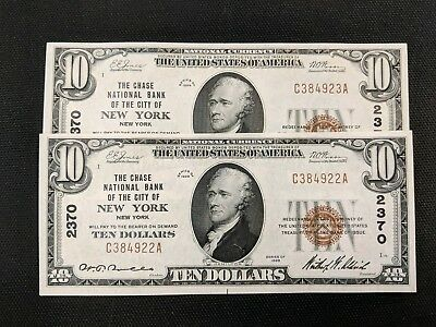 10.00 Chase National Bank of NY, NY Charter #2370 2 consecutive crisp CU notes