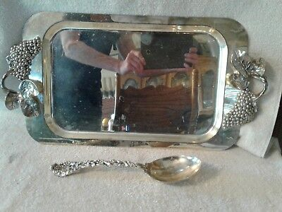 Godinger Silver Plate Tray with Grape & Leaves Handle & Spoon Vineyard Pattern