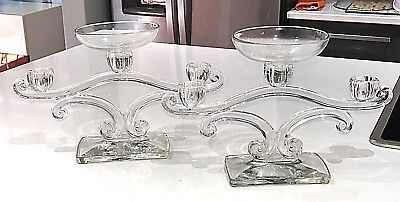 1930's New Martinsville Glass No 425 Candelabra Crystal Candleholders & Cups Set