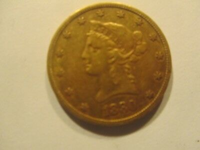 1880 Gold Liberty $10 Eagle NR Free Shipping Ungraded