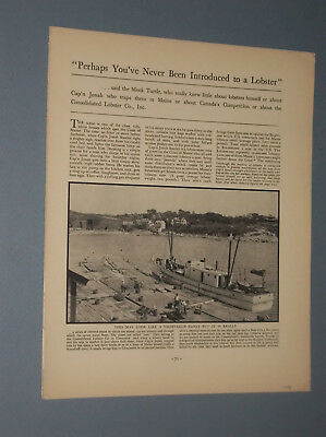 1933 Magazine Pictorial On Maine Lobsters + Illustrated Map Of Maine