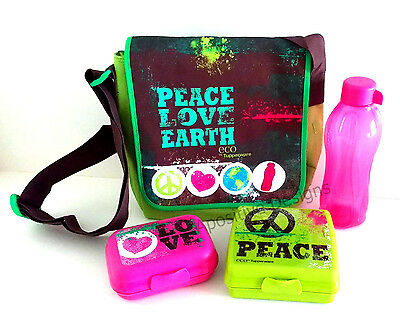 Tupperware 4 Piece Girl's Peace Love Eco Lunch Pack Bag Set with Fuchsia Bottle