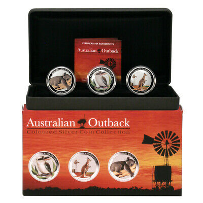 Australia Outback Collection 50c 2012 3 Colored 1/2oz Proof Silver Coins Mint Bo
