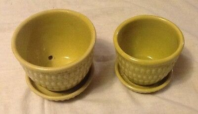 2 Vintage McCoy Planter Pots Medium & Small Chartreuse Green/Yellow Saucer