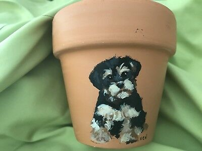 Hand Painted Yorkshire Terrier - Clay Plant Pot