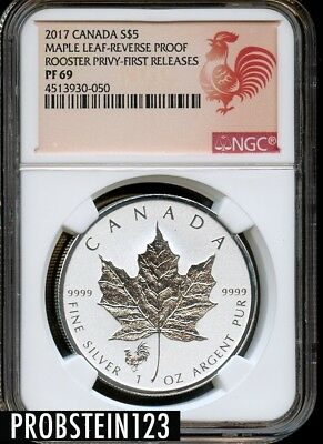 2017 S$5 Canada Maple Leaf Silver Proof Rooster Privy First Release NGC PF 69