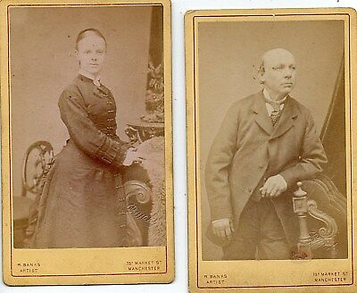 A Pair of late victorian CDV's 1 Man,1 Woman by Banks of Manchester.See Scans