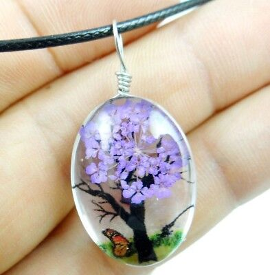 Fashion Crystal Glass Dried Flower Lucky Tree Oval Pendant Jewelry necklace 03Z2