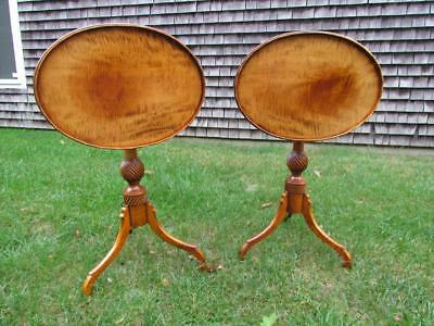 PAIR *STUNNING* TIGER MAPLE TILT TOP LAMP TABLES, DANIEL LeFORD,ELDRED WHEELER