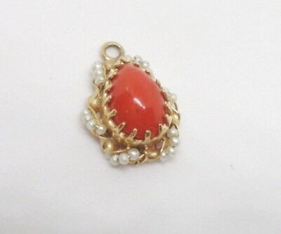 Antique 14K Yellow Gold Red Coral Seed Pearl Charm Pendant 14Kt Art Nouveau