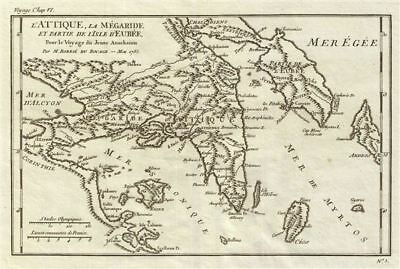 1785 Bocage Map of Attica, Megaris and Euboea, Ancient Greece