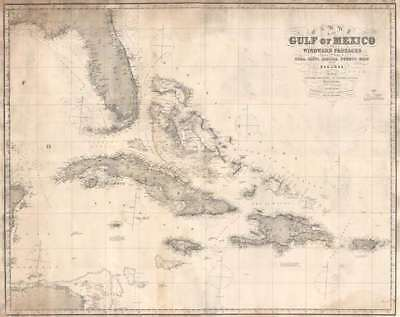 1873 Imray Blueback Chart or Map of the Gulf of Mexico and the West Indies