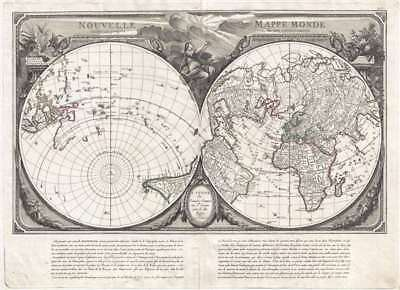 1784 Santini Map of the World on a Dual Polar Projection