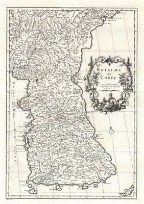 1737 D'Anville Map of Korea - first speciffic European map of Korea