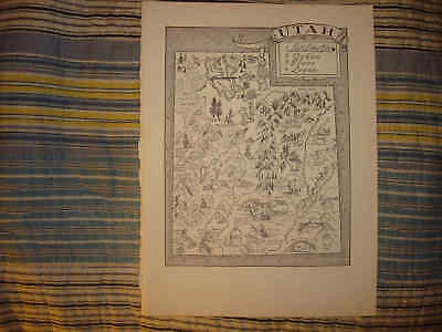 Antique 1951 Utah Cartoon Pictorial Map Salt Lake City Ogden Provo Logan Rare Nr