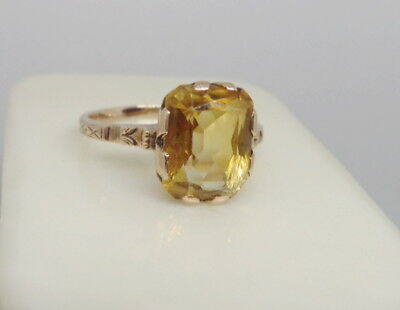 ANTIQUE VICTORIAN ART NOUVEAU 10K ROSE GOLD 3CTW NATURAL CITRINE RING 2.5g SZ6.5
